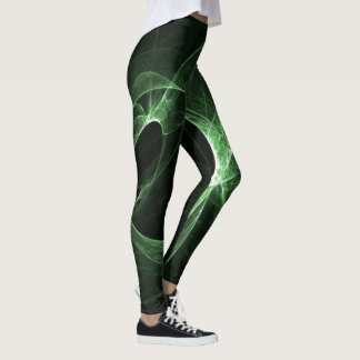 Abstract Green Swirls Leggings