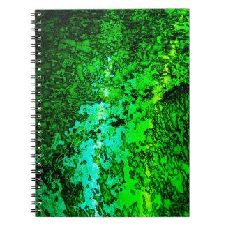 Abstract Green Textured Spiral Notebook