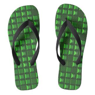Abstract green topless pyramid 3D-pattern Flip Flops