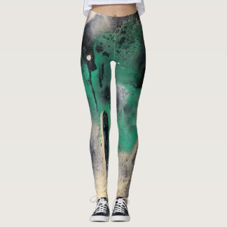 Abstract Green Watercolor Paint Leggings
