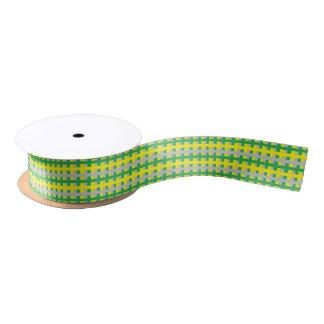 Abstract Green, Yellow and Silver Satin Ribbon
