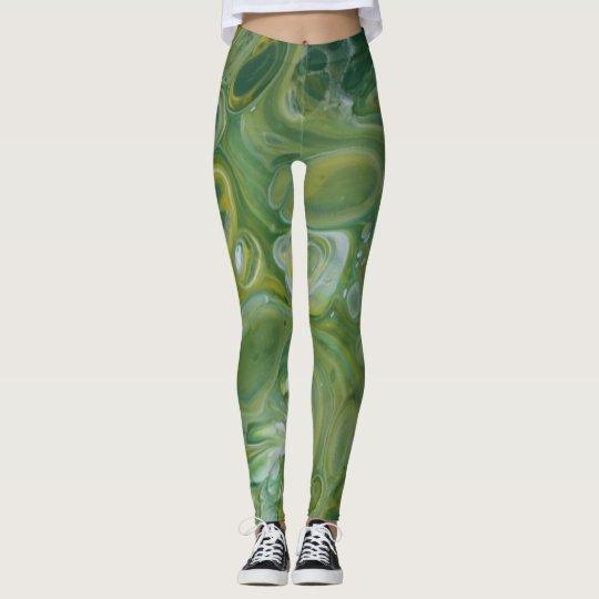 Abstract Green & Yellow Underwater Leggins Leggings