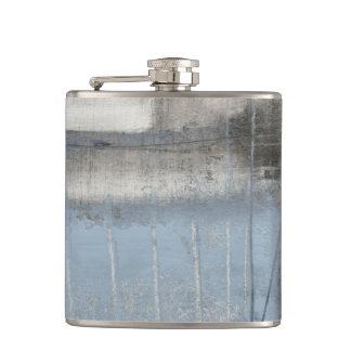 Abstract Grey & Blue Painting Hip Flask