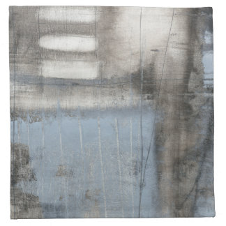 Abstract Grey & Blue Painting Napkin