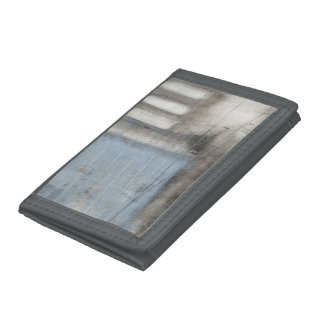 Abstract Grey & Blue Painting Tri-fold Wallet