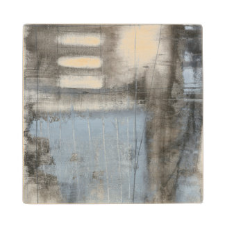 Abstract Grey & Blue Painting Wood Coaster