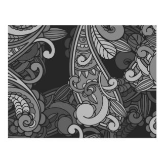 Abstract Grey Paisley Pattern Postcard