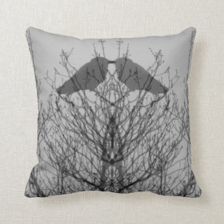 Abstract grey  tree vein modern crow bird pillow