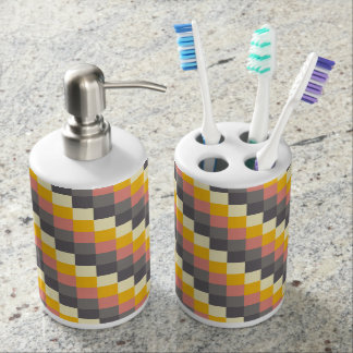 Abstract Grid Color Pattern Bath Sets