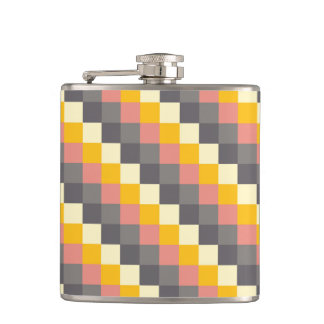 Abstract Grid Color Pattern Hip Flask