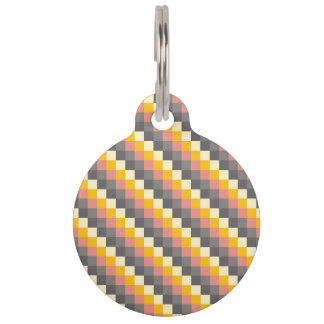 Abstract Grid Color Pattern Pet Tag