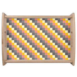 Abstract Grid Color Pattern Serving Tray