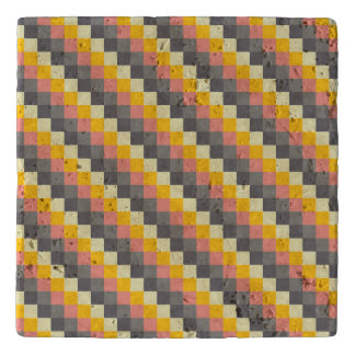 Abstract Grid Color Pattern Trivet