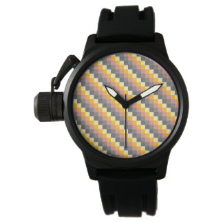 Abstract Grid Color Pattern Watch