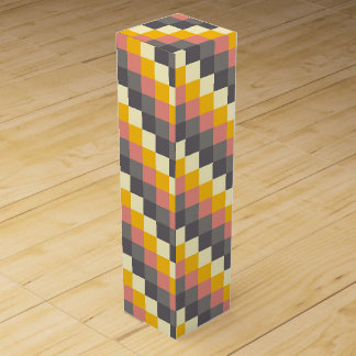 Abstract Grid Color Pattern Wine Bottle Box