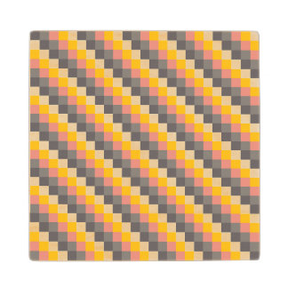 Abstract Grid Color Pattern Wood Coaster