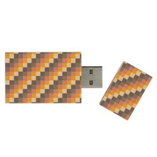 Abstract Grid Color Pattern Wood USB Flash Drive