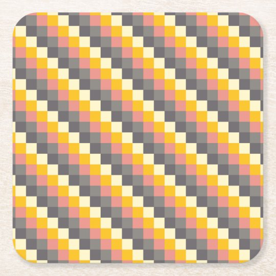 Abstract Grid Colour Pattern Square Paper Coaster
