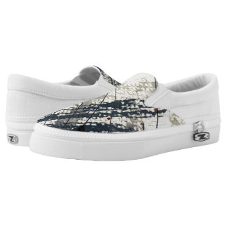 Abstract grunge background, ink texture. 2 Slip-On shoes