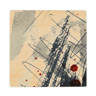 Abstract grunge background, ink texture. 2 wood coaster