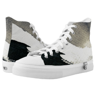 Abstract grunge background, ink texture. 4 printed shoes