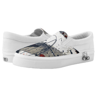 Abstract grunge background, ink texture. Slip-On shoes