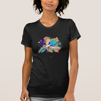 Abstract Grunge Parrot In Cream and Teal T-shirts