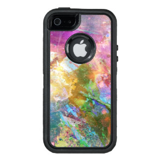 Abstract grunge texture with watercolor paint 3 OtterBox defender iPhone case