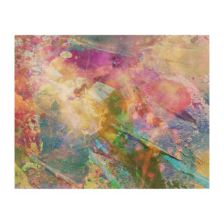 Abstract grunge texture with watercolor paint 3 wood canvas