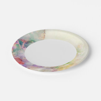 Abstract grunge texture with watercolor paint paper plate