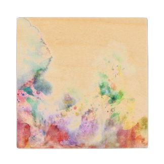 Abstract grunge texture with watercolor paint wood coaster