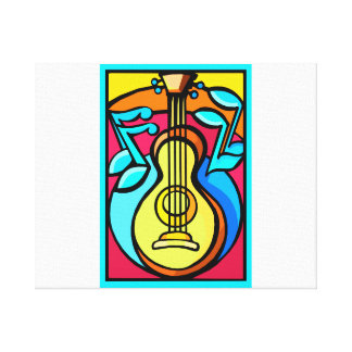 Abstract Guitar and Music Notes Graphic Design Canvas Print