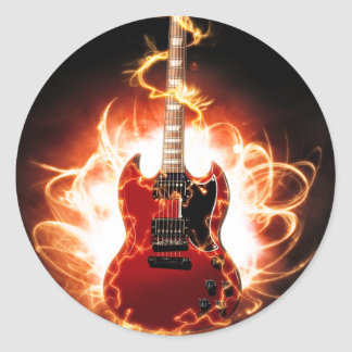 Abstract Guitar Design Classic Round Sticker
