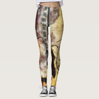 Abstract Guitar Design Leggings Gold Brown Black