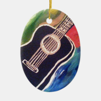 ABSTRACT GUITAR.jpg Ceramic Oval Decoration