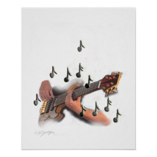 Abstract guitar player, music musician instrument poster