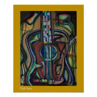 Abstract Guitar Poster by ValAries