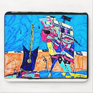 ABSTRACT GUITARIST DRAWING MOUSE PAD