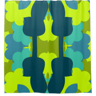 Abstract guitars in green shower curtain