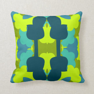 Abstract guitars in green throw pillow