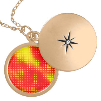 Abstract Halftone Dots Round Locket Necklace