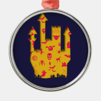 Abstract Halloween image with a castle cut out. Christmas Ornament
