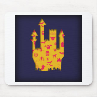 Abstract Halloween image with a castle cut out. Mouse Mat