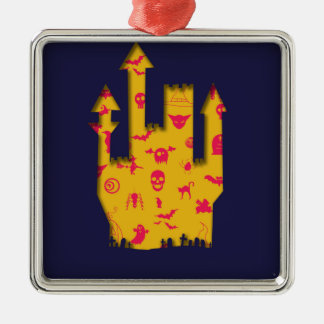 Abstract Halloween image with a castle cut out. Silver-Colored Square Decoration