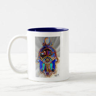 ABSTRACT HAMSA BY LIZ LOZ Two-Tone COFFEE MUG
