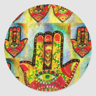 Abstract Hamsa Hand Art Classic Round Sticker