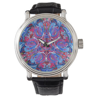 Abstract hand drawing boho pattern with birds watch