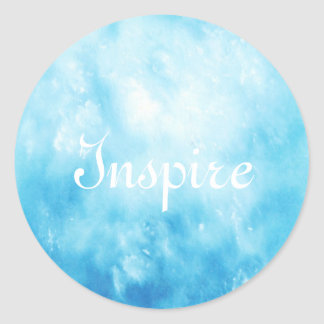 Abstract Hand Drawn Watercolor Background: Blue Classic Round Sticker