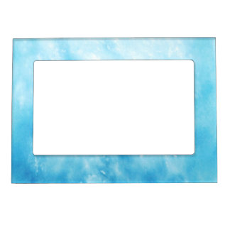 Abstract Hand Drawn Watercolor Background: Blue Magnetic Picture Frame