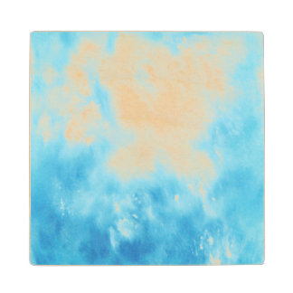 Abstract Hand Drawn Watercolor Background: Blue Maple Wood Coaster